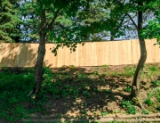 Wood fence on hill